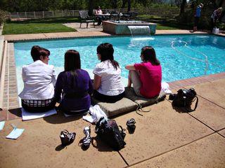 Feet in pool girls