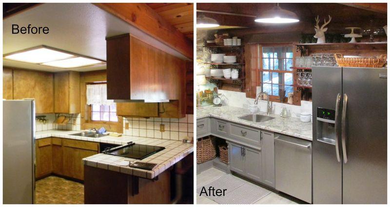 Cabin kitchen before island Collage
