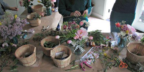 Flower potluck table close