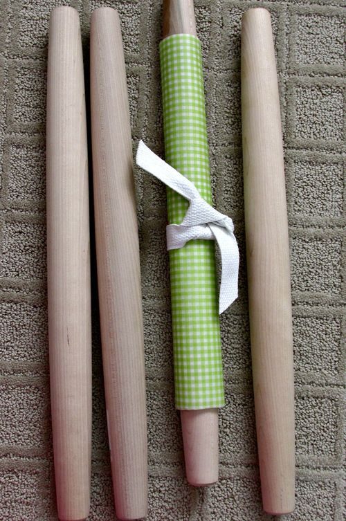 Cooking class invitation rolling pins tied