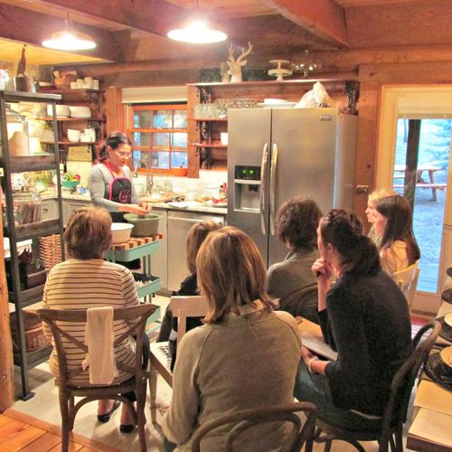 Cabin cooking class- students