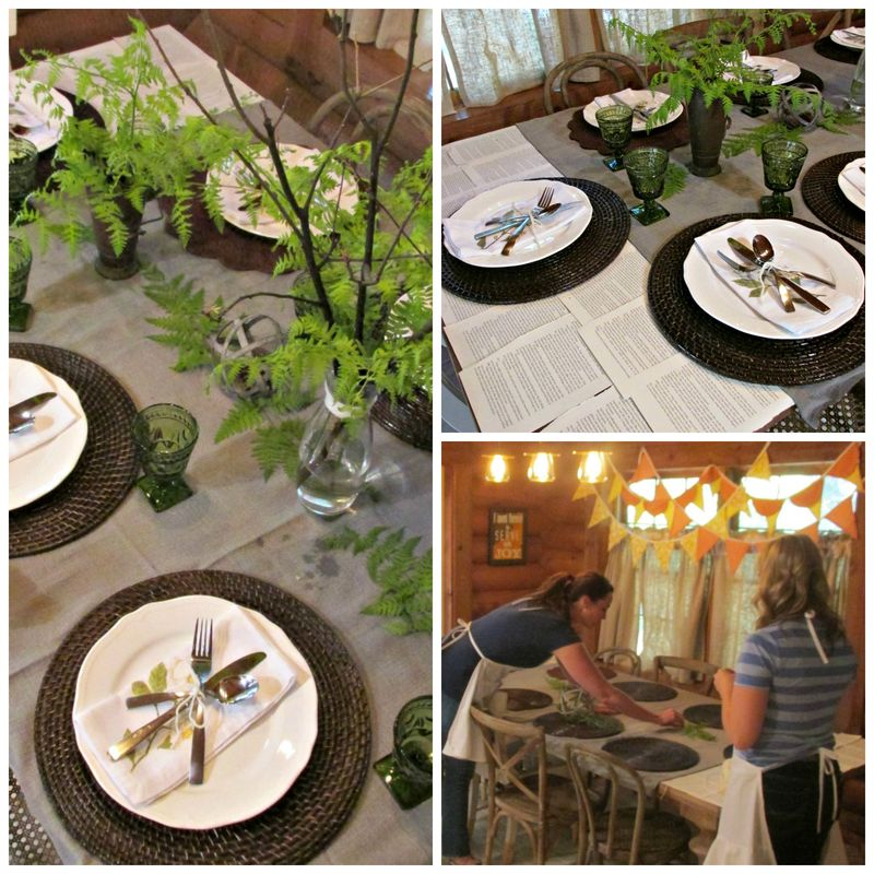 Cabin cooking class table twisted Collage