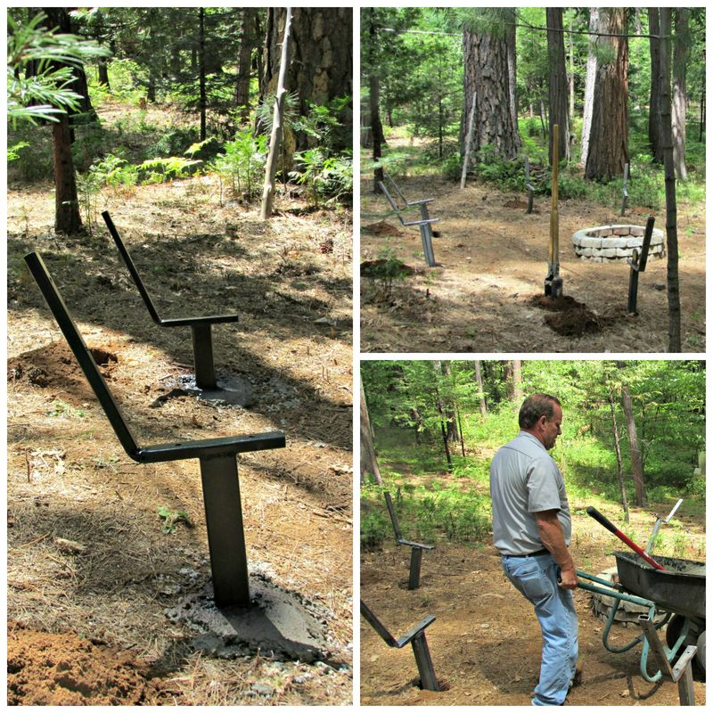 Cabin firepit benches in the making