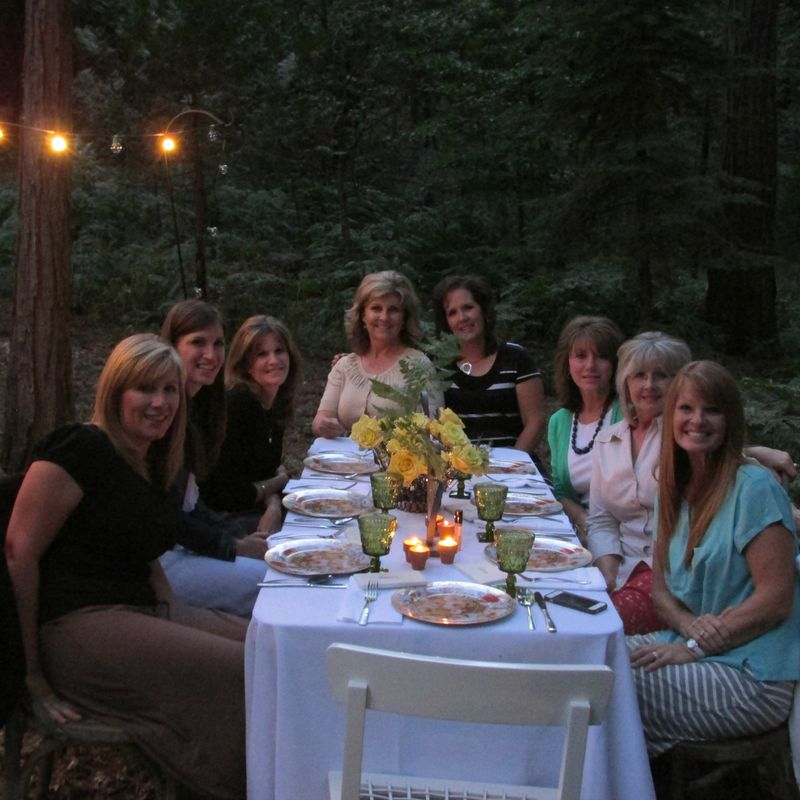 Dinner in the woods all of us