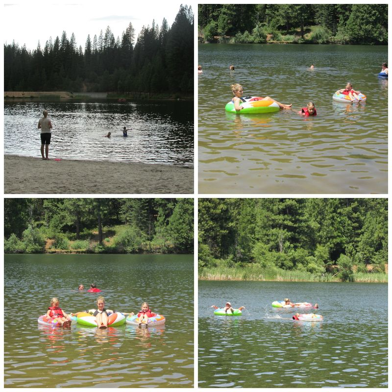 Cabin lake swimming Collage