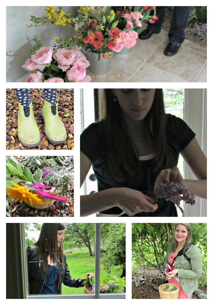 Flower potluck bree and heidi Collage