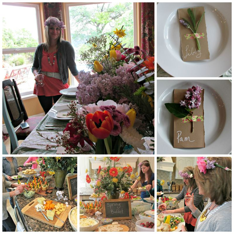 Flower potluck lunch table Collage