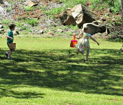 Family easter egg hunt running carlee