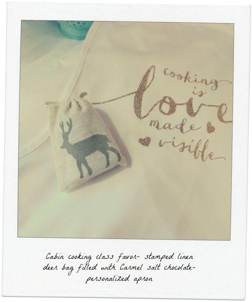 Cabin cooking class favor linen bags