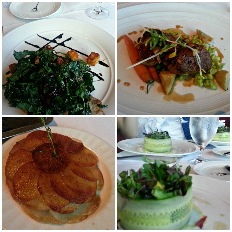 LV Paris eiffel tower Restaurant food Collage