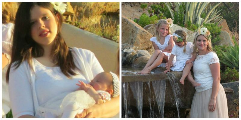 Dressed in white Mother and Daughters Collage