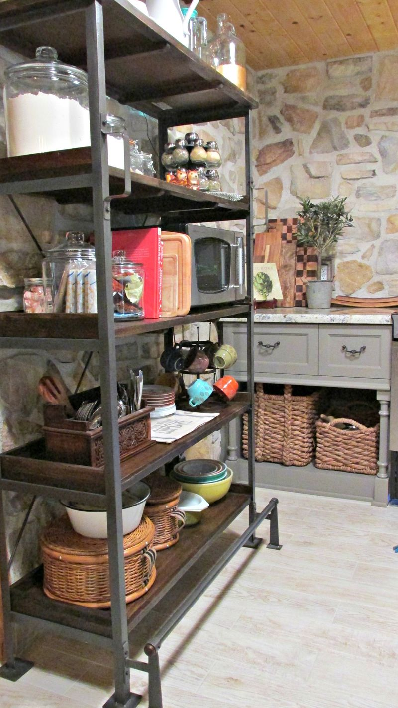 Cabin kitchen pantry shelf