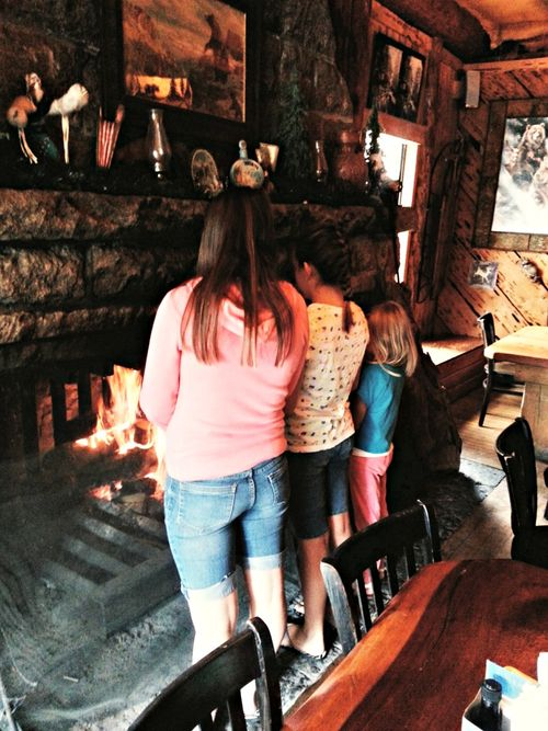 Girls day lunch by the fire Alpine lake
