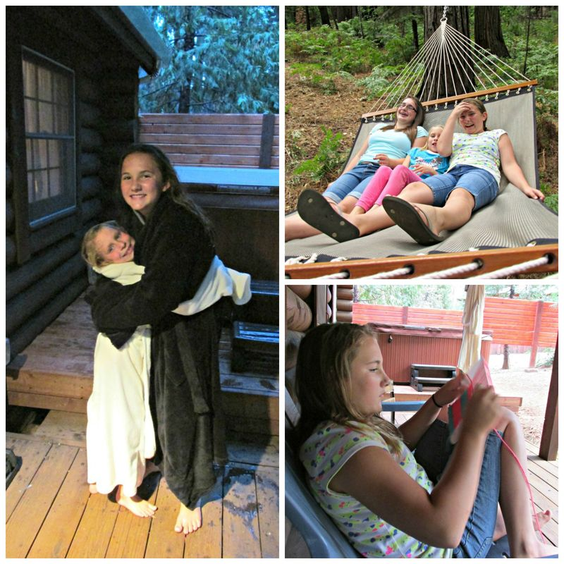 Girls day at the cabin fun Collage