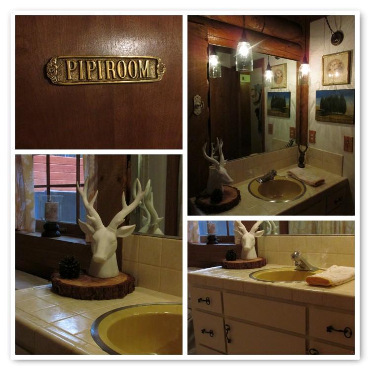 Cabin bathroom deer