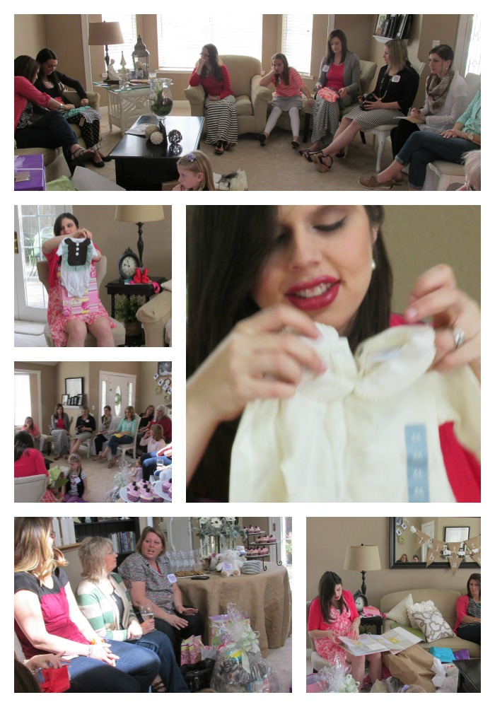 Baby shower opening giftsCollage