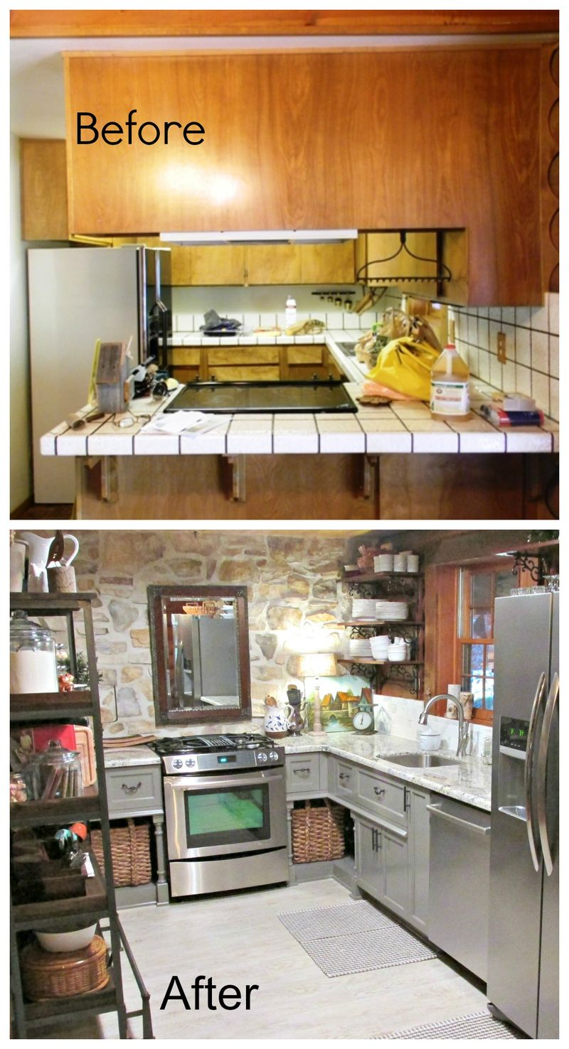Cabin kitchen before and after