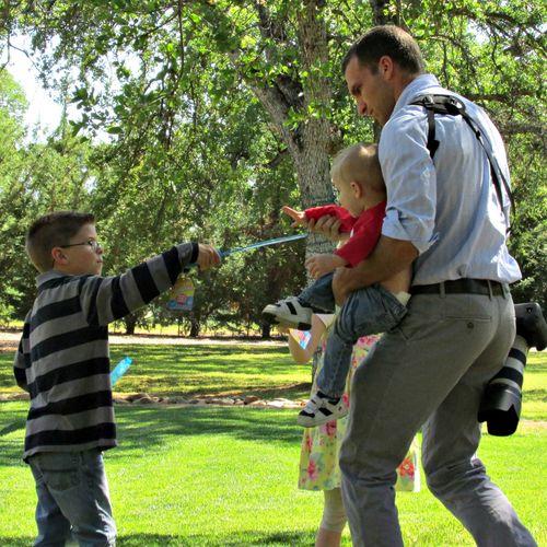 Family easter egg hunt sam and kids