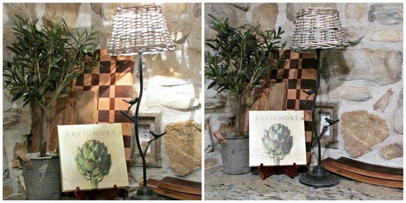 Cabin kitchen basket lamp collage