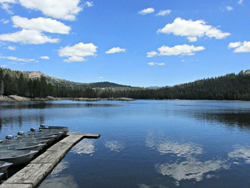 Alpine lake cloud reflection