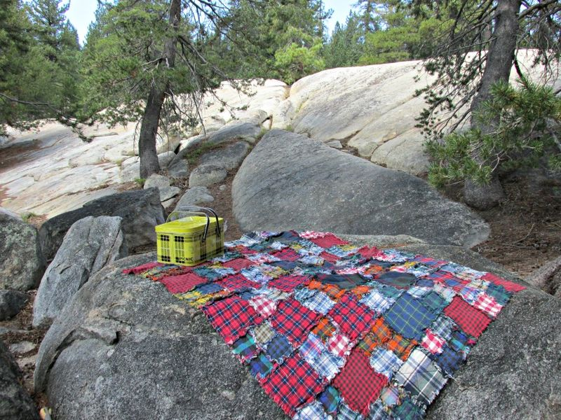 Picnic on the rocks by the lake
