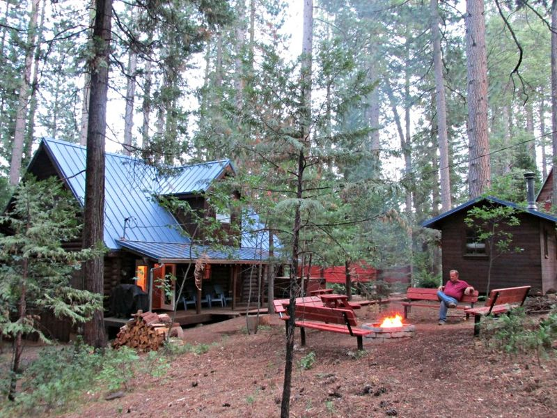 Cabin backyard fire pit