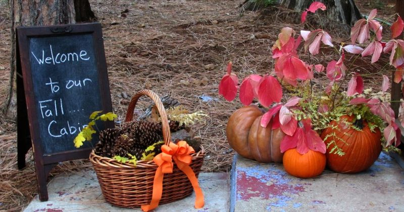 Fall decorations blackboard