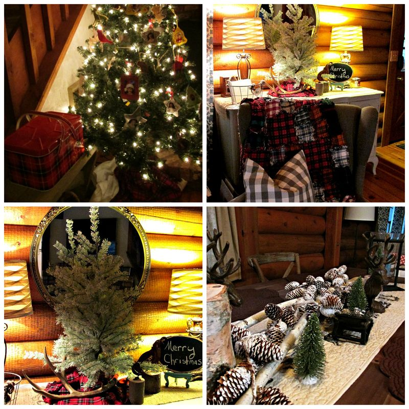 Cabin Christmas tree Collage
