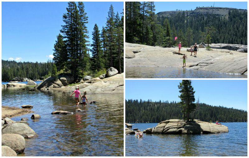 Cabin lake alpine crossing lake Collage