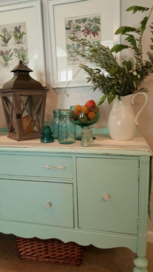 Kitchen buffet blue glass