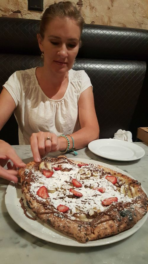 Shannon and dessert pizza