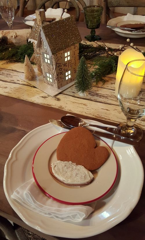 Snowshoeing table decorations mitten cookies