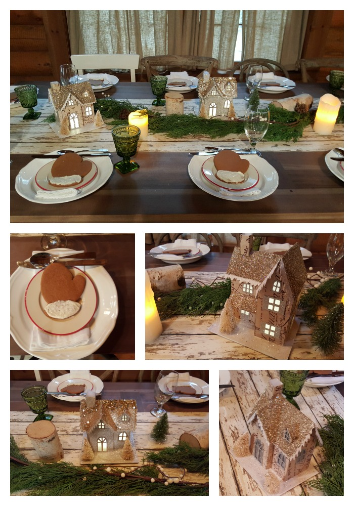 Snowshoeing cabin table decorations