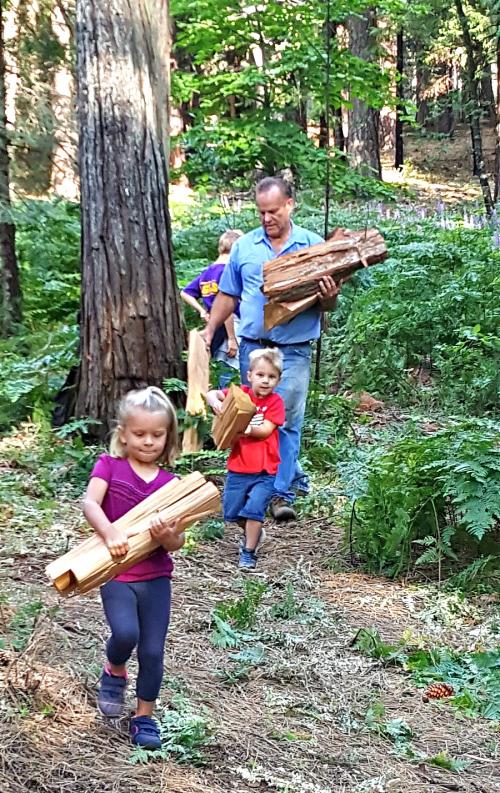 Cabin may 2016 stacking wood