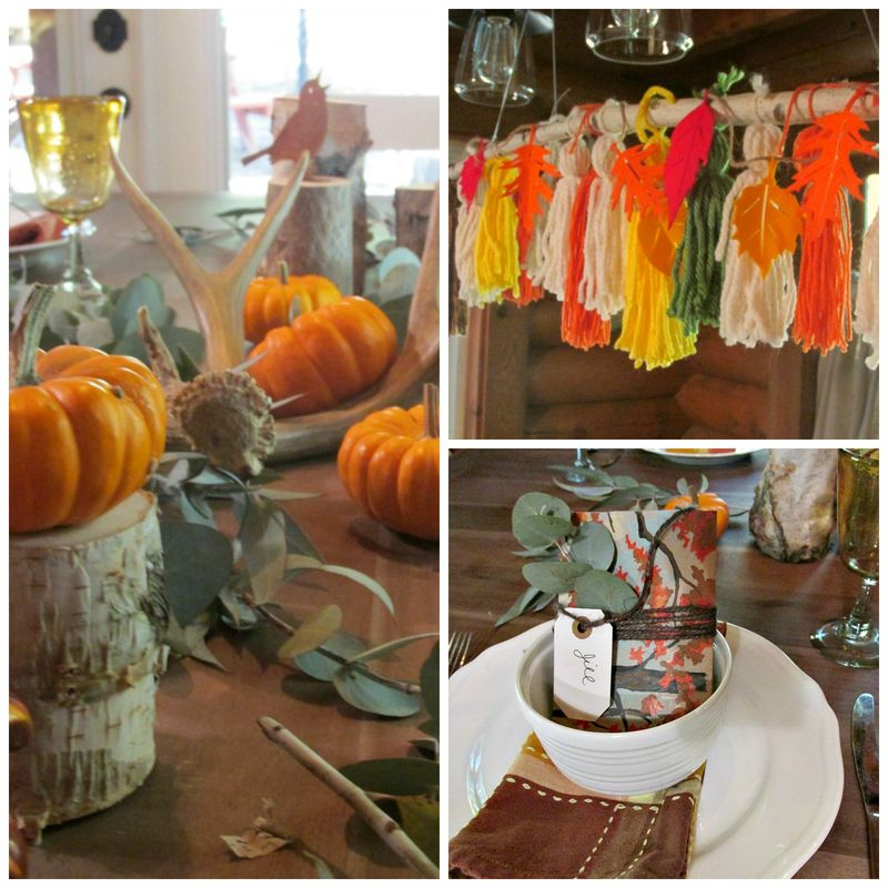Enchanted fall cabin table Collage