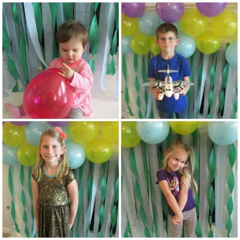 Birthday mantel photo backdrop