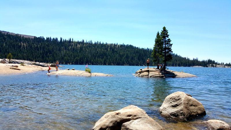 Cabin 2015 alpine lake rocks and island