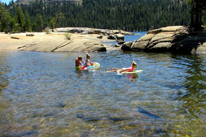 Cabin alpine lake kids swimming