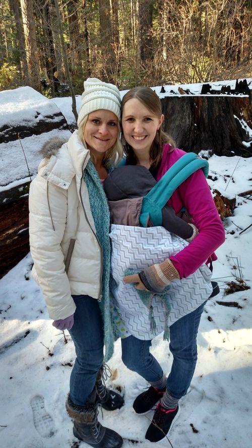 Snowshoeing heidi and becca