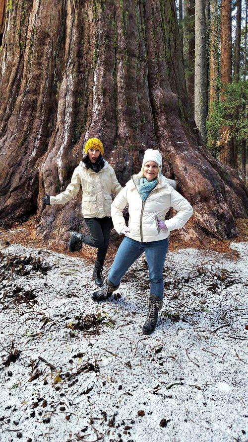 Snowshoeing christine and heidi