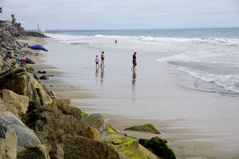 Oceanside195 family beach walking