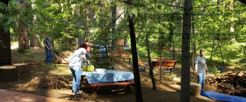 Cabin family work day bree kent john