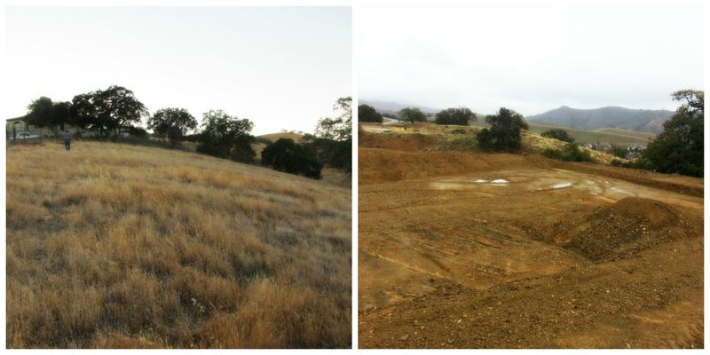 DG building lot before and after Collage