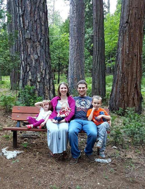 Cabin may 2015 kent's family on bench