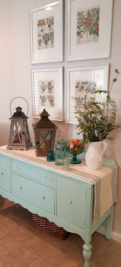 Kitchen buffet full blue glass