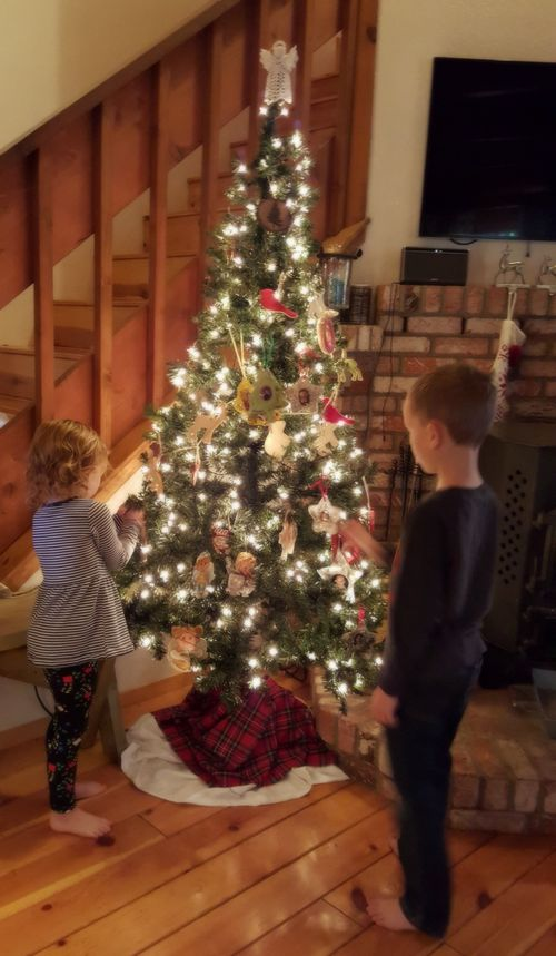 Cabin Nov 2015 Christmas tree kids