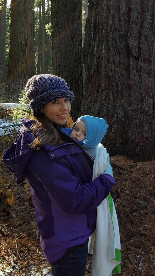 Snowshoeing linda and baby