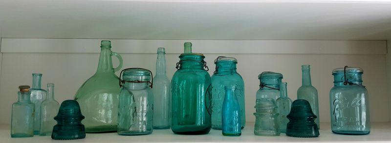 Blue vintage jars