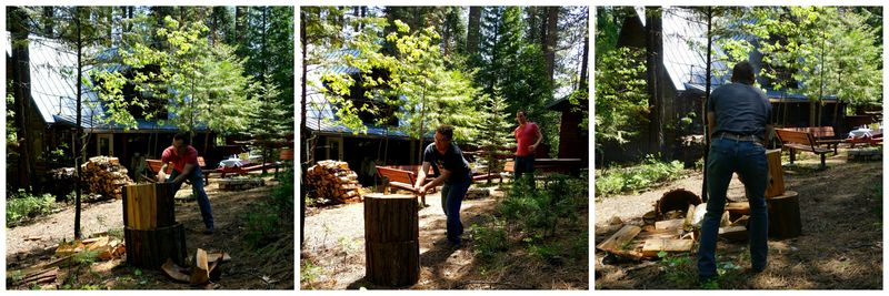 Cabin family work day boys chopping Collage
