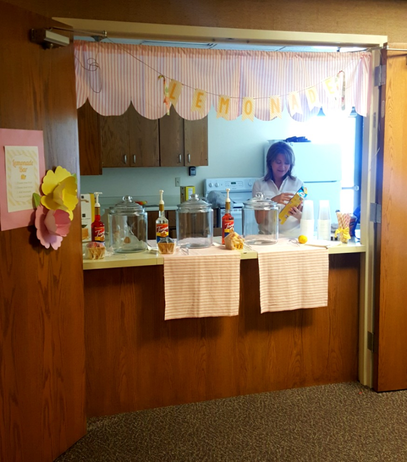 Relief society activity lemonade bar sandi